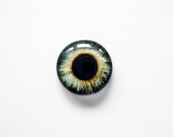 12mm handmade glass eye cabochon - grey eye - standard profile