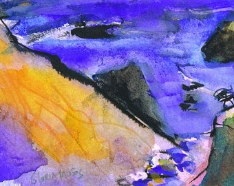 Water Color Seascape Flowing Blue and Gold Painting