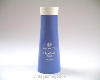 Max Factor Chontrelle perfumed talc, vintage 1970s toiletry, purple bottle, 70s home decor