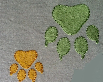 Meow - CAT PAW filled Embroidery Design ~ Machine Embroidery Design - 2 sizes - Instant Download