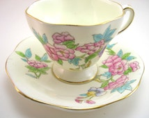 Antique Foley  Tea cup and saucer set, Yellow with Bouquet of flowers, Handpainted tea cup and saucer,Fine Bone China, English tea set