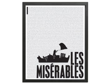 Les Miserables Victor Hugo - Book Art Print - Book Lovers Poster - Literature Poster - Les Mis - English Teacher Gift - Book Quote Art Print