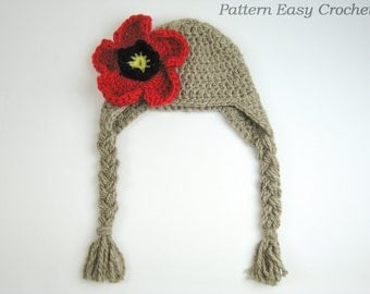 Crochet Pattern Earflap Hat with flower in 7 sizes from newborn to adult