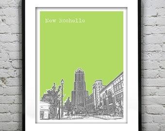 New Rochelle Poster New York City Skyline Art Print  NY