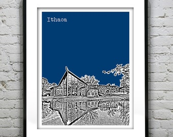 1 Day Only Sale 10% Off - Ithaca New York Poster Print Art Skyline NY Ithaca