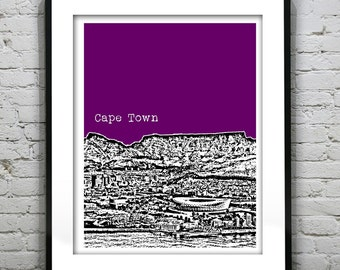 Cape Town Skyline Poster Art Print South Africa Version 1