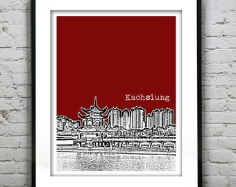 Kaohsiung Taiwan Poster Print Skyline Travel Art Asia Lotus Lake