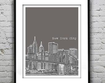 1 Day Only Sale 10% Off - New York City Skyline Art Print Poster NYC Brooklyn Bridge Manhattan  Item T1008