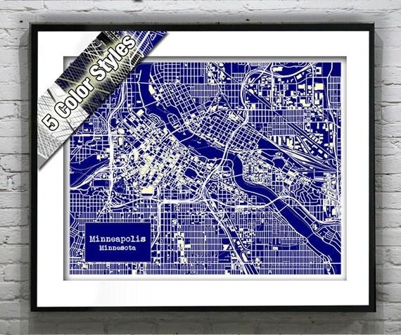 Minneapolis Minnesota Blueprint Map Poster Art Print Several