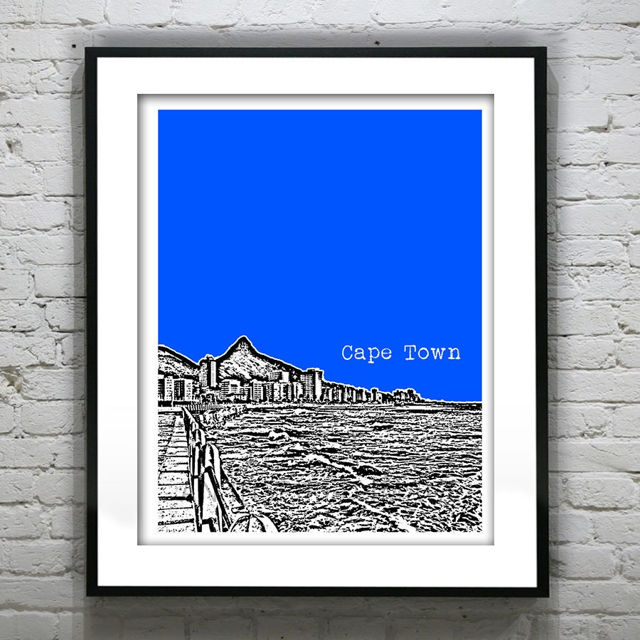 Cape Town Skyline Poster Art Print South Africa Version 2