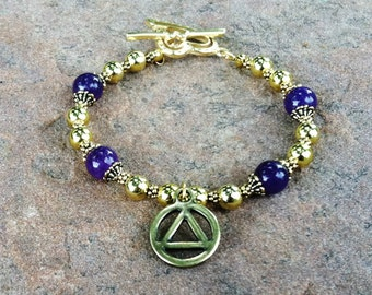 Gold AA Unity Bracelet with Genuine Amethyst Beads, Gold Beads, Tiffany Bead Caps and Gold Heart Toggle Clasp