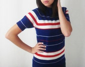 Vintage Striped Sweater - Red White and Blue Top - Shortsleeve Sweater - Nautical Top - Sailor Top - Small Vintage Sweater - Retro Top