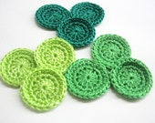 Handmade crocheted 1 inch circle appliques in green shades - Choose Your colors and amount