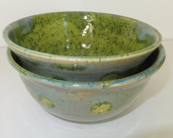 2 Green Ceramic Bowls with White Dots, Rustic Stoneware Nesting Prep Bowls
