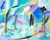 Contemporary Abstract Painting Original Artwork 18x24 Blue Green Pink Modern Art