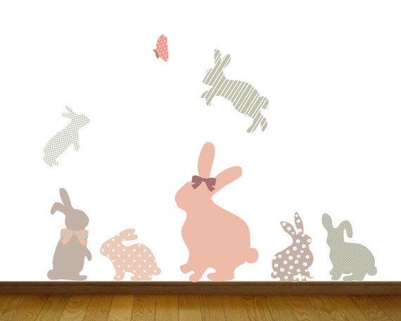 bunny wall decals bunny fabric wall decals by ecowalldecals bunny and balloons wall stickers littleprints