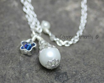 Pearl & Star Necklace in Sterling Silver, Swarovski Crystal and Glass Pearl- 6140095