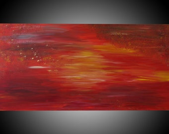 "Desert Sun-Original Abstract Acrylic Painting on canvas.  Size 24""x 48"" x 1.5""."