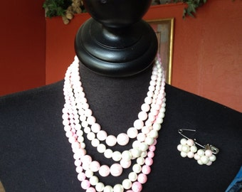 Vintage Pink Cascading Pearl Necklace earring set