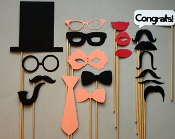 Photo Booth Props / Coral / Weddings / Birthdays / Stick Props / Mustache