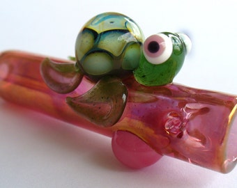 Turtle Chillum -Gold Fumed/Color Changing - Double Amber Purple Shell
