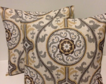 Set of 2 Pillow Covers, Brown Ivory Grey Tan, Decorative Throw Pillows, Accent Pillows, Pillow Cover - Many Sizes to Choose From!