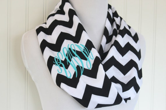 black chevron monogrammed scarf personalized scarves