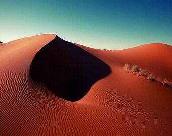 Sahara shadows photograph, red orange desert dunes, turquoise blue sunshine sky, home decor