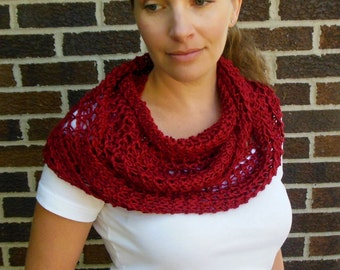 Deep Red Infinity Scarf Hand Knit Lacy Open Weave Light Weight Fashion Scarf