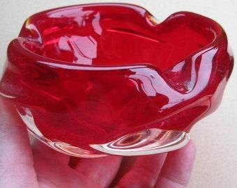 Murano 1970's red glass knobbly dish bowl ashtray vintage retro