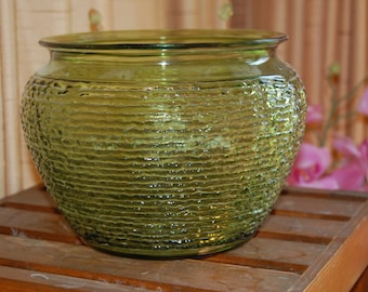 Vintage  Green Glass  Planter by National Pottery, Crinkle Glass Planter, Large Green Planter