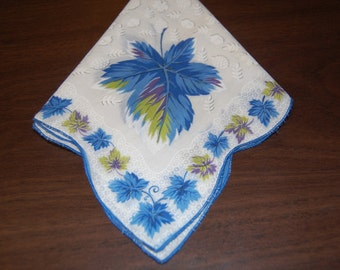 Vintage Ladies Hankie, Handkerchief, Scalloped edge, Blue Leaf Hankie