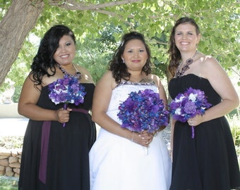 Alma's Bridemaids Bouquets Blue Violet MO Orchids Purple Roses White Hydrangeas Purple Feather Flowers