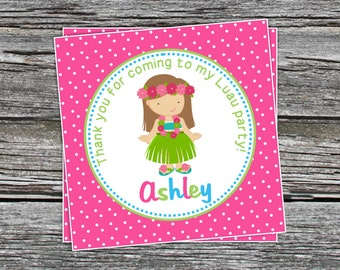 DIY - Girl Hula Luau Favor Tags- Coordinating Items Available