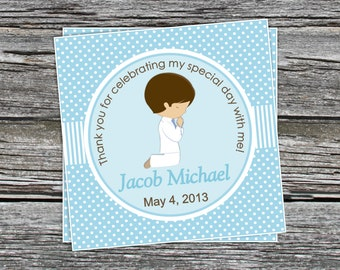 DIY - Boys First Communion Favor Tags- Coordinating Items Available