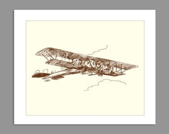 Digital Download Old Fashioned Biplane 1900s 1920s 1910s Airplane Art Print Boys Rooms Office