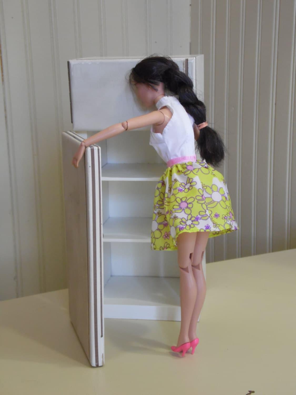 Vintage Handmade Barbie Fridge Wooden Fridge Doll