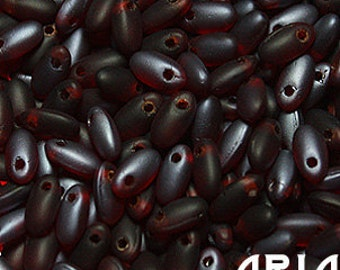 RED LAGOON MATTE: Rizo Czech Glass Seed Bead Drops, 2.5x6mm (10 grams)