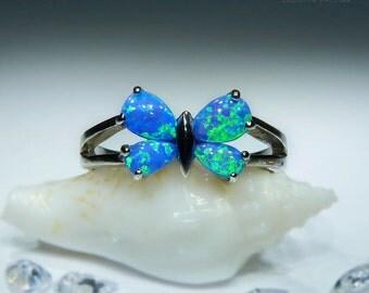 Butterfly. Handmade Blue Opal Ring