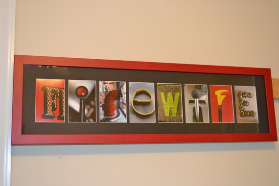 8 letter name personalized firefighter letter by for Personalized firefighter letter art