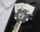 Groom Poker Playing Card Themed Buttonhole Boutonniere Red White Black Vegas Wedding