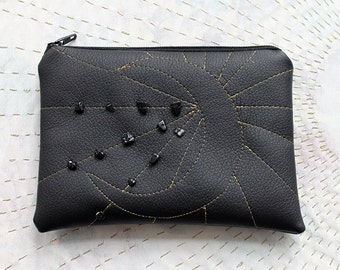 Black Coin Purse with zip - Crescent moon
