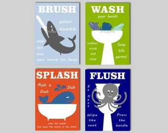 Kids Bath Wall Art Shark Bath Prints Bath Rules Splash Flush Nautical Bath Art Whale Bathroom Fish Bath Prints Kids Bathroom CHOOSE COLORS