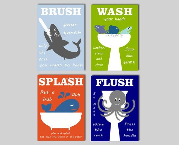 Kids bath wall art shark bath prints bath rules splash flush for How do sharks use the bathroom