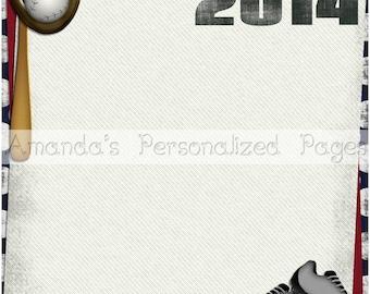 2 Page 12x12 Personalized Scrapbook  Paper (Baseball Page 2)