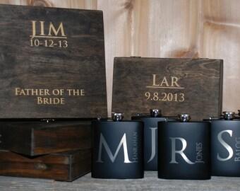 6 Cigar Boxes & 6 Flasks Groomsman Gift Set - Laser Engraved Cigar Box and Flask Gift Set - Wooden Cigar Box