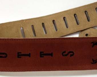 Custom Engraved Suede Guitar straps, custom guitar straps, guitar straps, personalized guitar straps, Rust color