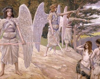 """James Tissot : """"Adam and Eve Driven from Paradise"""" (c1896-1902) - Giclee Fine Art Print"""