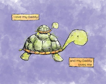 Turtle (Daddy and Little One) Art Print for Children's Room/ Nursery...8x10