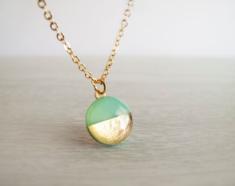 Mint Green Gold Adjustable Necklace - Modern Necklace - Gift For Her